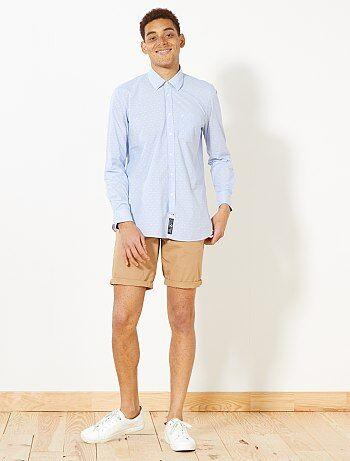 Homem do S até XXL - Camisa de corte direito com micro motivo - Kiabi