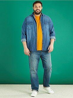 Camisas em ganga - Camisa de corte direito de ganga stone