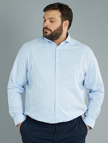 Homem tamanhos grandes - Camisa de corte direito em algodão piqué - Kiabi