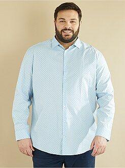 Homem tamanhos grandes Camisa de corte direito em popelina estampada