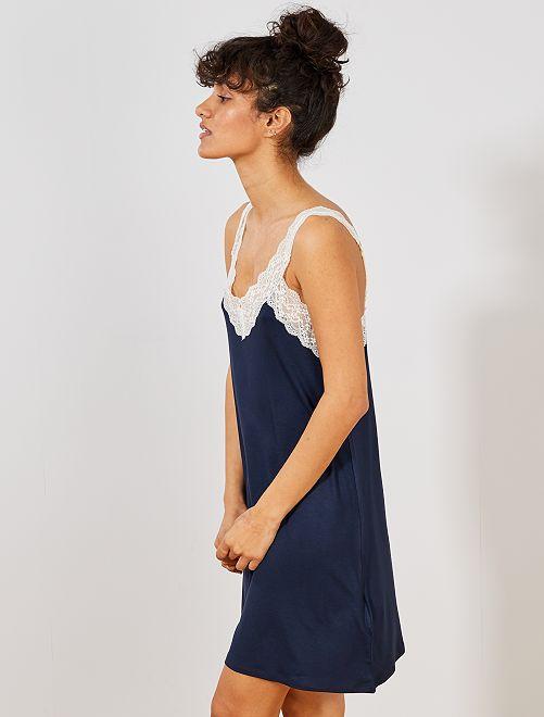 4513b752a9 Camisa de dormir soltinha com renda Lingerie do s até xxl - Azul ...