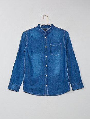 Menino 10-18 anos - Camisa de ganga - Kiabi 3f7c1aa7282
