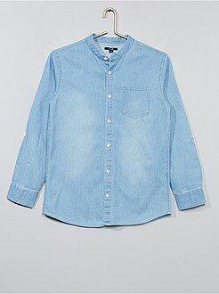 Camisa - Camisa de ganga com gola mao - Kiabi