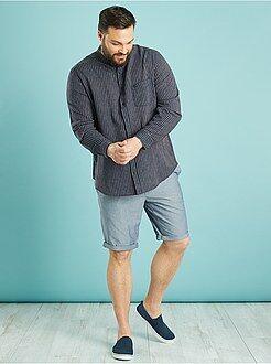 Homem tamanhos grandes Camisa de linho e algodão com corte a direito