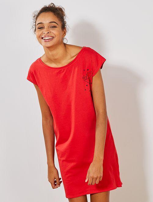 Camisa de noite em algodão                                                                 ROXO