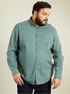 Homem tamanhos grandes Camisa em algodão dobby com corte a direito