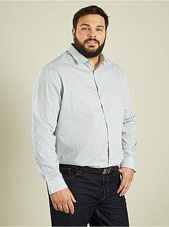 Homem tamanhos grandes Camisa em popelina às riscas com corte a direito