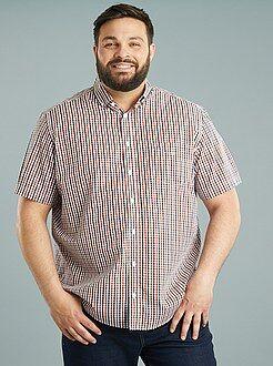 Homem tamanhos grandes Camisa em popelina estampada e corte a direito