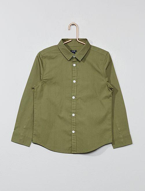 Camisa em popelina                                                     Verde Lichene Menino 3-12 anos