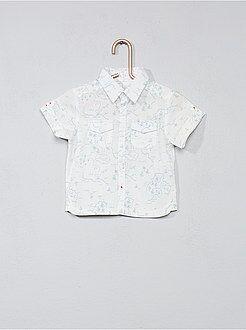 Camisa, blusa tamanho 3m - Camisa estampad com bolsos estampado no peito - Kiabi