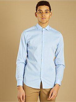 Camisa fitted em algodão dobby de fantasia - Kiabi