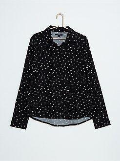 Camisas, blusas - Camisa fluida com micro-motivos