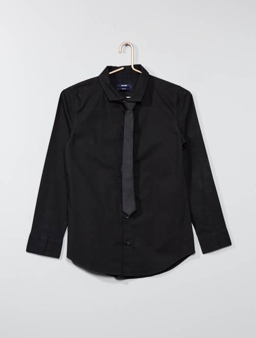 Camisa + gravata                                         preto Menino 10-18 anos