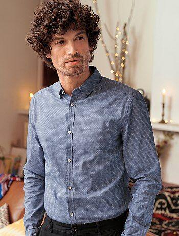 Camisa justa em algodão dobby - Kiabi ba3f45e6bfdea