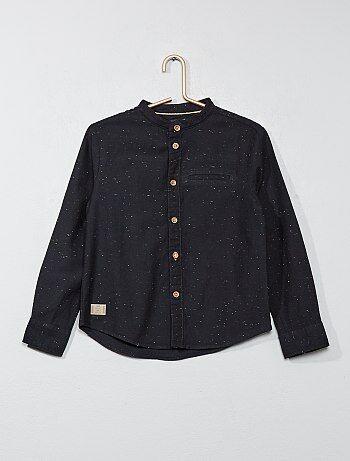 Camisa pontilhada com gola mao - Kiabi
