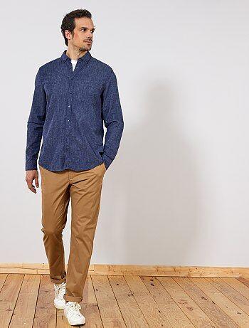 Camisa regular de algodão e linho - Kiabi