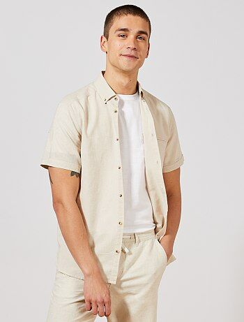 5d688b435 Homem do S até XXL - Camisa regular em algodão e linho - Kiabi