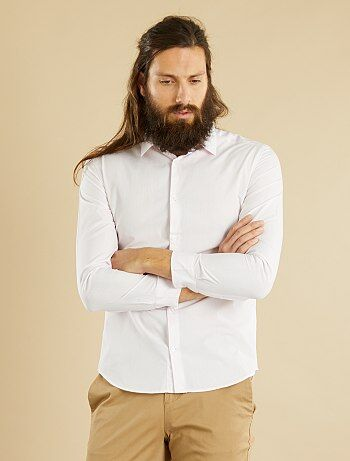 Camisa vichy fitted em popelina - Kiabi