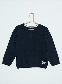 Camisola ,casaco, sweat - Camisola com gola em V em puro algodão