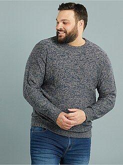 Homem tamanhos grandes Camisola com gola redonda em malha mesclada
