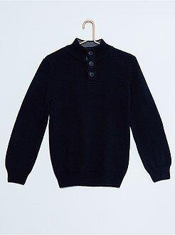 Camisola, casaco - Camisola de gola alta com botões
