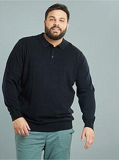 Homem tamanhos grandes Camisola de malha fina com gola de polo