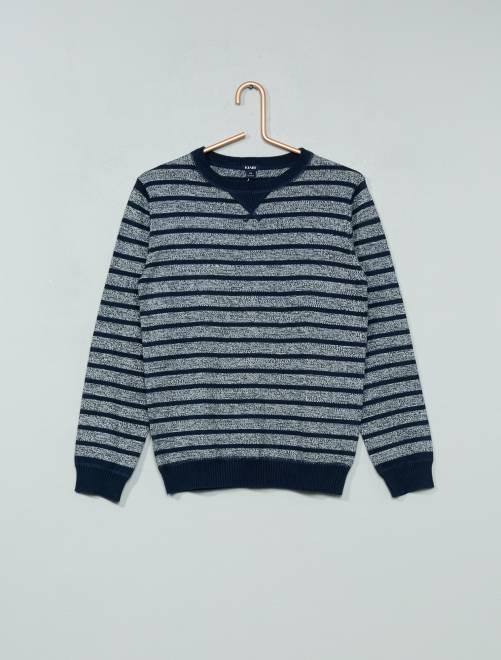 Camisola de malha fina com gola redonda GRIS Menino 3-12 anos