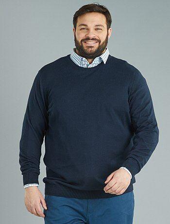 Homem tamanhos grandes - Camisola de malha fina em puro algodão - Kiabi