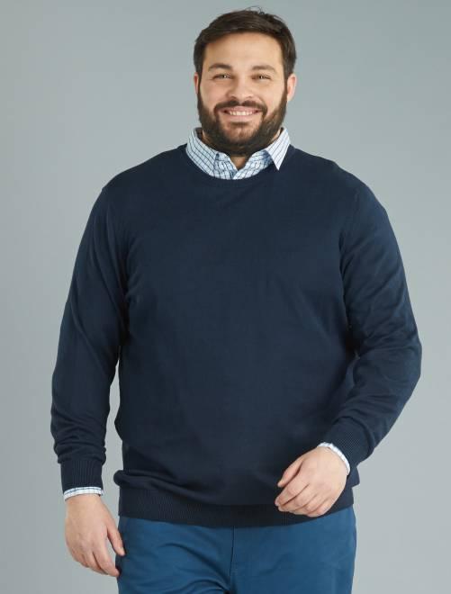 Camisola de malha fina em puro algodão Azul Marinho Homem tamanhos grandes