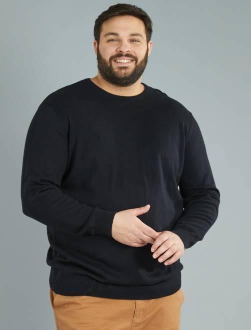 Camisola de malha fina em puro algodão Preto Homem tamanhos grandes