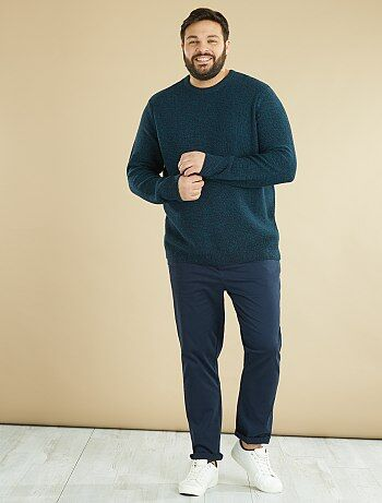 Homem tamanhos grandes - Camisola de malha mesclada - Kiabi