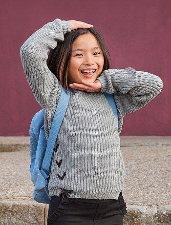 Camisola de malha nacarada com atilhos - Kiabi