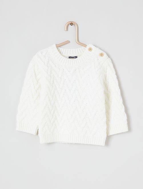 Camisola em malha de tricô                             Branco