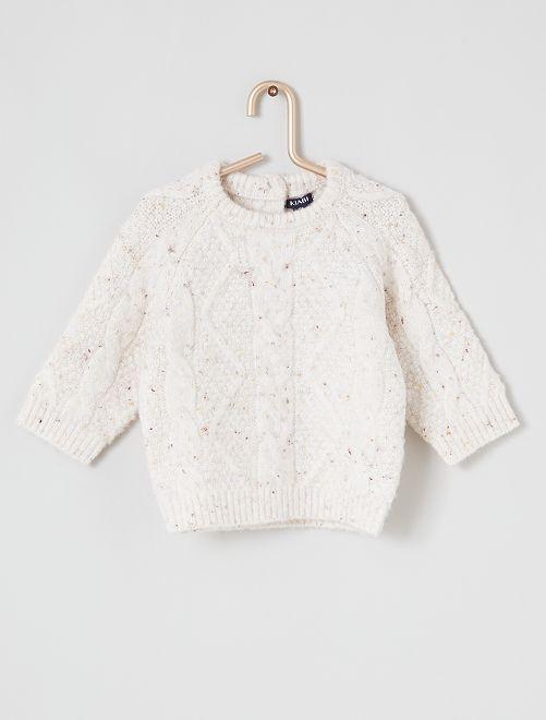Camisola em malha de tricot                             BRANCO