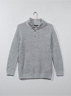 Menino 10-18 anos - Camisola em tricô com fecho na gola - Kiabi
