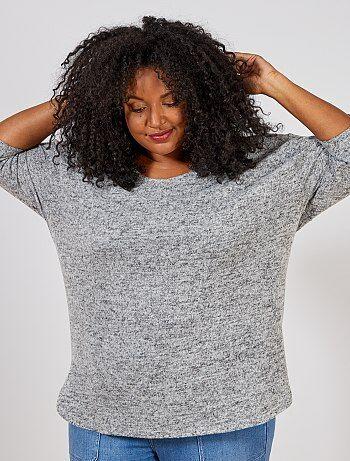 3cfda7b64 Mulher tamanhos grandes - Camisola larga em malha matizada - Kiabi