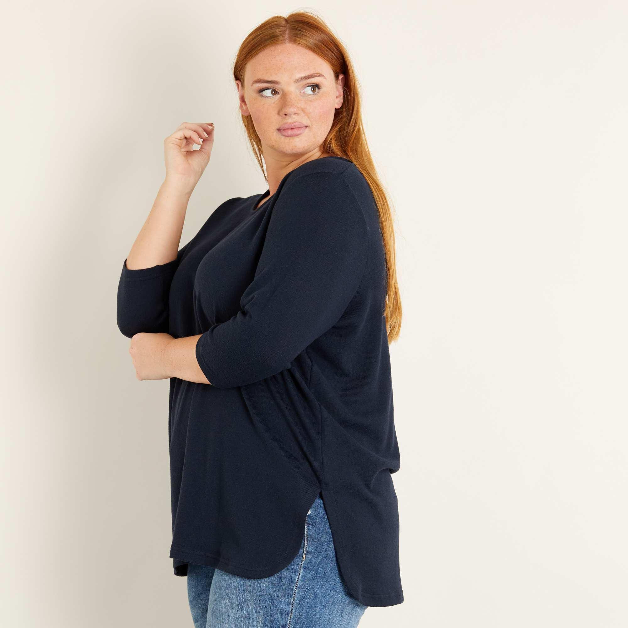 camisola matizada com manga 3 4 mulher tamanhos grandes azul kiabi 12 00. Black Bedroom Furniture Sets. Home Design Ideas