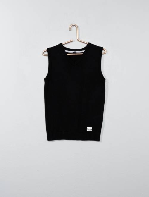 Camisola sem mangas decote em V negro Menino 3-12 anos