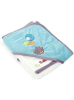 Atoalhados - Capa de banho e luva do tema 'floresta'