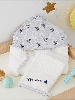 Atoalhados - Capa de banho e luva 'Mickey'