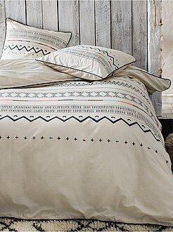 Roupa de cama adulto - Capa de edredão e fronha de casal de algodão - Kiabi