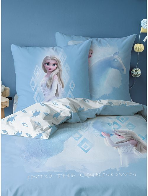 Capa de edredão e fronha de solteiro 'Frozen'                             Azul