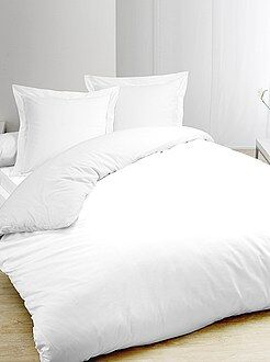 Capa de edredão e fronhas brancas em puro algodão - Kiabi