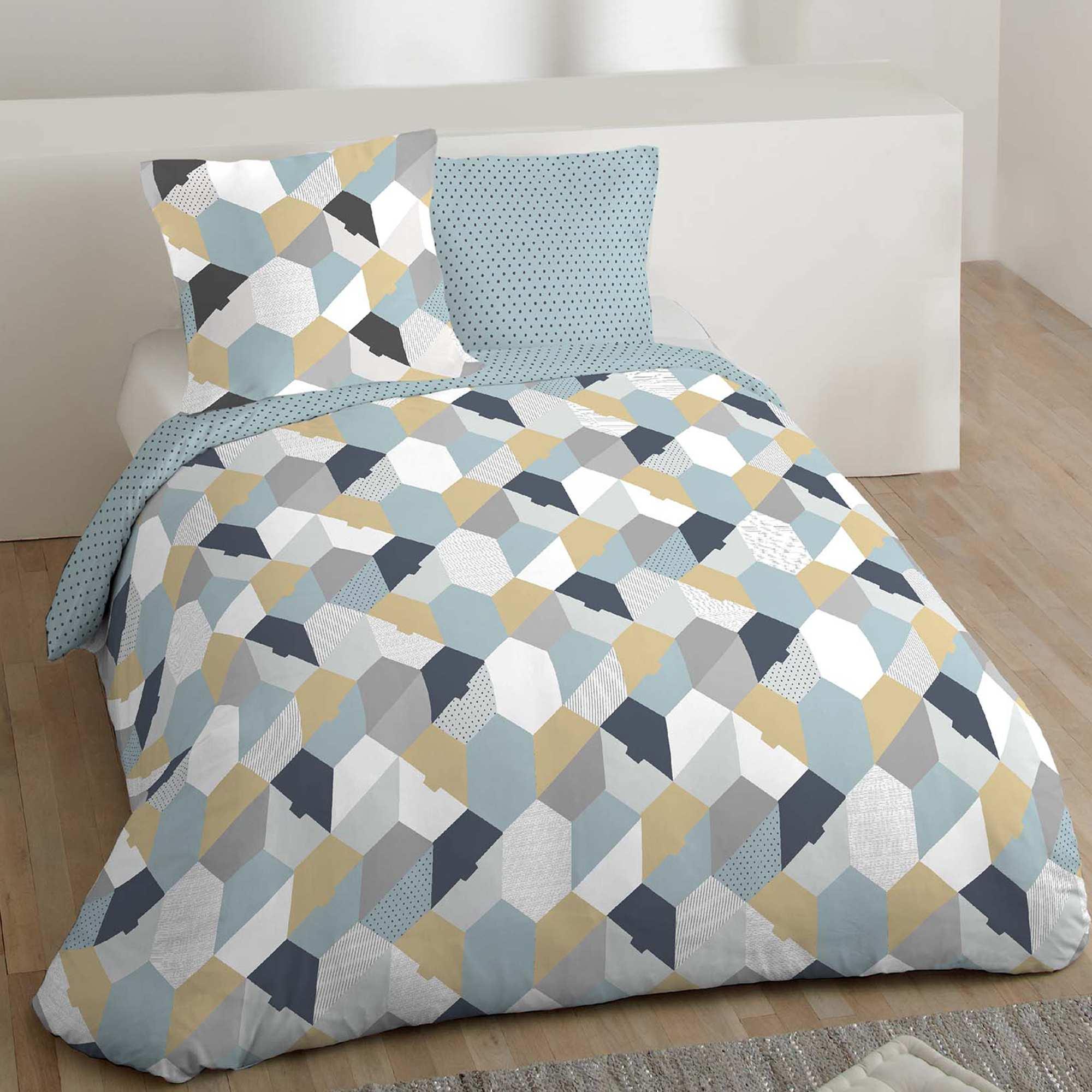 9c5464268 Capa de edredão + fronha de casal com motivos geométricos Azul  Branco Casa.  Loading zoom