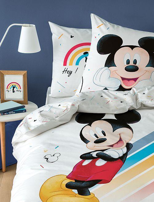 Capa de edredão + fronha de solteiro estampado 'Mickey'                             Branco