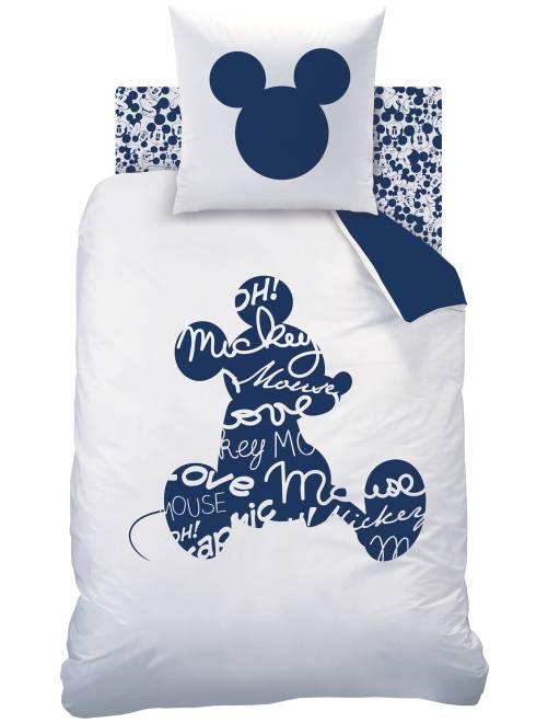 Capa de edredão + fronha de solteiro reversível 'Mickey'                             Branco/ Azul Casa