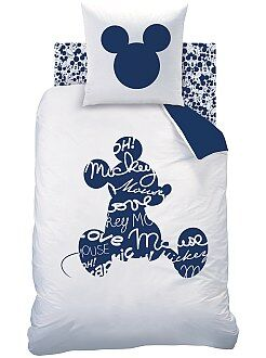 Roupa de cama criança - Capa de edredão + fronha de solteiro reversível 'Mickey' - Kiabi