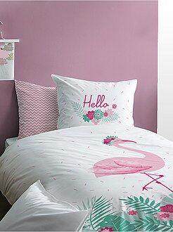 Capa de edredão + fronha reversível 'flamingo rosa' - Kiabi