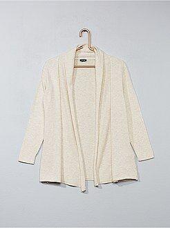 Camisola, casaco - Casaco aberto com gola tipo xaile - Kiabi