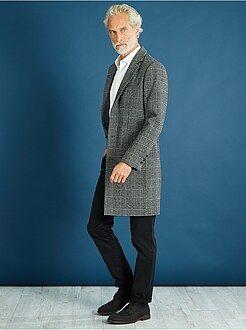 Casaco, sobretudo - Casaco comprido com efeito de lã de quadrados - Kiabi